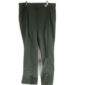 Haggar Khaki Green Dress Pants Men Classic Fit Ple